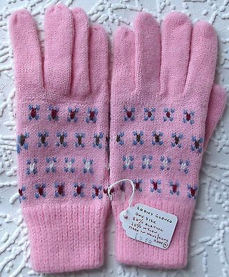 Vintage gloves 1970s UNUSED ladies girls One size knitted gloves PINK patterned